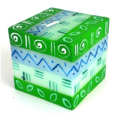 Hand-Painted Cube Candle - Farih