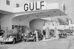 Gulf Gas Station & Antique Car Scene 1900 4x6 Reprint Of Old Photo