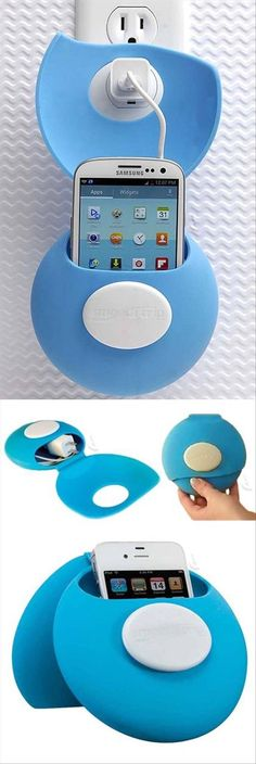 What a cool gadget to charge your iphone and organize it. Not to mention it looks cute and in blue color.