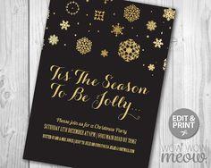 Christmas Party Invitations Black and Gold by wowwowmeow on Etsy