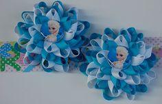A pair of elsa frozen hair bows Disney loopy by RoshelysBowtique, $10.00