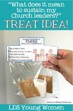 """Fun take-home gift! """"Sustaining our leaders is S'more than just a raised hand!"""" LDS Young Women June lesson helps for """"What does it mean to sustain my church leaders?"""" Included in lesson packet! www.LovePrayTeach.com"""