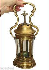 belle lampe lanterne à bougie de procession 19ème - bronze et laiton