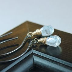 Moonstone Earrings Mixed Metal White Gemstone by Hildes