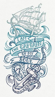 "The last line of William Ernest Henley's poem ""Invictus"" takes on a life of its own in this nautical tattoo sleeve design."