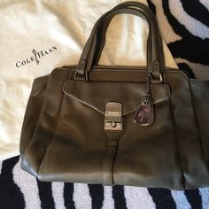 Cole Haan Hannah mini satchel in willow Authentic Cole Haan Hannah mini satchel in willow (a light army green color). Great bag! I do have original tags but it is not NWT as I did carry it a few times. There are a few small scuffs and signs of wear throughout (see photos) but otherwise in great condition. Perfect everyday neutral bag!  UPDATE: I found the dust bag!!  Cole Haan Bags Satchels