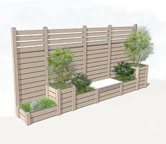 Bildergebnis für Pflanzgefäß mit Gitter - Helena Almeida - New Ideas Garden Privacy, Backyard Privacy, Backyard Garden Design, Backyard Fences, Backyard Landscaping, Privacy Planter, Fence Planters, Diy Garden, Fence Design