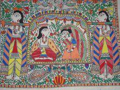 Madhubani Painting, Rural Indian Art Form, Poster, Kahar, Marriage, Doli, Handmade, Bride and Groom