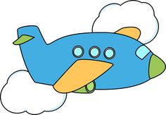 Cute Airplane | Airplane Flying Through Clouds Clip Art Image - blue airplane flying ...