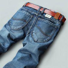 Top Quality! 2014 New Men's Fashion Jeans Famous Brand, Slim Straight Cotton Denim Pants, Designer Jeans Man Brand Large Size 40 $29.55