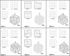 Isometric Sketch, Artist Hacks, Isometric Drawing Exercises, 3d Shapes Worksheets, Orthographic Drawing, Mechanical Projects, Interesting Drawings, Drawing Activities, Cube Design