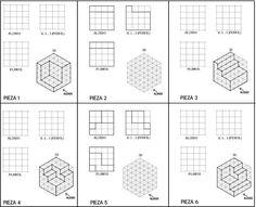 Utilice esta hoja de trabajo para crear la ortografía o la isométrica para cada cuadro. #Bosquejoortográfico #enespañol #teched Isometric Sketch, Artist Hacks, Isometric Drawing Exercises, 3d Shapes Worksheets, Orthographic Drawing, Mechanical Projects, Interesting Drawings, Drawing Activities, Cube Design