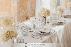 White satellites breakaways centerpieces | Wedding Planning & Design by Luxury Estate Weddings & Events | luxuryestateweddings.com