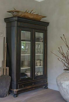 black cabinet with shelves