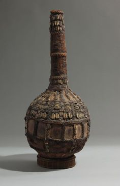 Africa   Calabash (gourd) vessel from Cameroon or Nigeria   Gourd, twine, raffia and cowrie shells