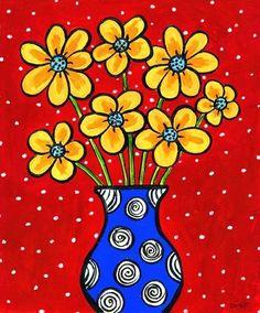 Yellow Flowers Blue Vase -  Print. $20.00, via Etsy.