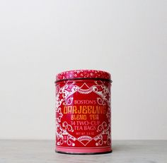 Vintage Collectible Tea Tin - Boston's Darjeeling India Blend Tea Canister - Red and Pink Floral Tin by Suite22 on Etsy
