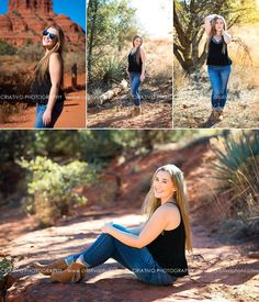 Destination senior portraits with Sedona senior photographer, Criativo Photography. Senior portraits surrounded by beautiful red rocks, streams, and desert nature!
