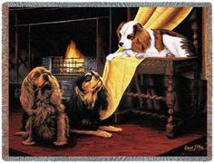 King Charles Spaniel Dog Throw Blanket - Dog Lover Blankets - The Cavalier King Charles Spaniel is a beloved dog by many. Artist, Robert May captures a beautiful scene perfectly with the three spaniels all gathered together by the hearth. A wonderful throw for the chair or sofa or on the bed, as well as the perfect gift for the King Charles Spaniel dog lover in your life.