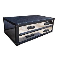 black mirrored trunk coffee table