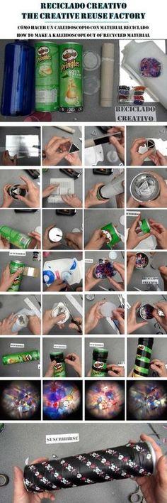 Cómo hacer un Caleidoscopio para niños con botes de Pringles y otros materiales reciclados. How to make a kaleidoscope out of recycled materials | Aprender manualidades es facilisimo.com