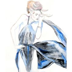 Original Watercolor Painting 13x19 artwork woman fashion illustration... ($125) ❤ liked on Polyvore
