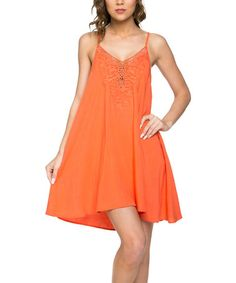 Another great find on #zulily! Coral Embroidered Shift Dress #zulilyfinds