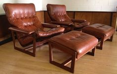 Danish Lounge Chairs Ottomans Pair Leather Teak Mid Century Mddern Recliner Low 1500 850