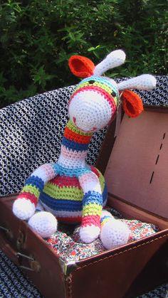 Striped Giraffe crocheted teddy, details of pattern source on blog.