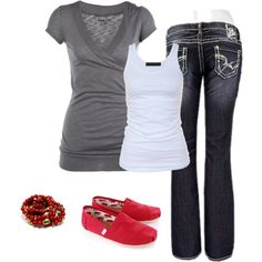 """""""touch of red #3"""" by stefani-nelson on Polyvore I like this outfit but I wear red ballet shoes"""