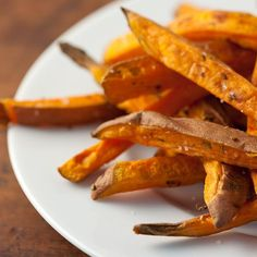 """healthy sweet potatoe fries  preheat 425F. combine 1 tsp chopped fresh rosemary leaves, 1 tbsp olive oil, 1 lb sweet potatoes cut into 1/2"""" """"fries"""" (about 3 medium). Spread potatoes on parchment-lined baking sheet in single layer. Bake 30-35 min, flipping halfway thru baking time til lightly browned. Remove & sprinkle w/1/4 tspn sea salt."""