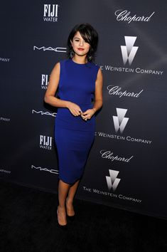 Selena Gomez looked super slim in a sleeveless cobalt sheath during the Weinstein Company Oscar nominees dinner.