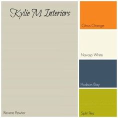 revere pewter gray paint colour palette with orange, cream, navy blue and green for best boys room paint colours - Kylie M Interiors theater color scheme