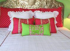 "Polka dots and Plaid hand embroidered Otomi Sham  Scarlett ""O"" collection Mexico, Tenango, wedding, textile, mexican suzani, embroidery, hand embroidered, otomi, fiber art, mexican, handmade,  casa, decor, interior, frida, kahlo, folk,  folk art, house, home, puebla, las flores, cushion, serape, preppy, gingham, polka dots, pink, lime, green, lily pulitizer, pouf, elle decor, boho, style, bestey johnson, lily pultizer, interior, stripes, southern living, southern style,"