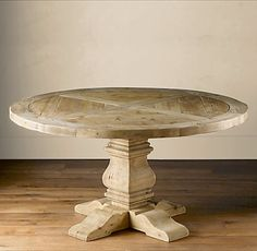 Restoration-Hardware-Salvaged-Wood-Pedestal Table - like this finish for our armoire Pedestal Coffee Table, Coffee Table Base, Wood Pedestal, Trestle Dining Tables, Dining Room Table, Nook Table, Diy Table, Dining Rooms, Round Wood Table