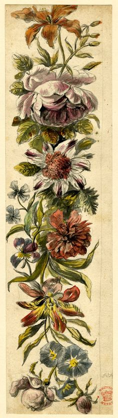 Design with a vertical line of assorted flowers, formerly in an album; including a pink rose near the top Watercolour, over graphite