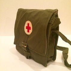 Soviet Vintage Military Medical Bag - Russian Army Canvas Red Cross Green Bag