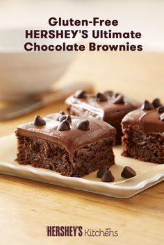 Get excited for Gluten-Free HERSHEY'S Ultimate Chocolate Brownies. These easy to make brownies are made with HERSHEY'S Cocoa and HERSHEY'S Kitchens SPECIAL DARK Mildly Sweet Chocolate Chips or HERSHEY'S Kitchens Semi-Sweet Chocolate Chips. This treat tastes so good your family won't even know they're gluten-free!