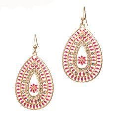 $28.00 Chrissy Earrings  Add some flair to your look with the Chelsey Earrings. The red enamel and white cz play off each other perfectly against the backdrop of gold filigree. Looks like just the pop of color you need!