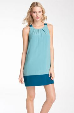 Donna Ricco Colorblock Pleated Neck Jersey Shift Dress available at Nordstrom