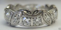 Antique European Diamond Wedding Band Eternity Ring Platinum Art Deco Vintage  #WithDiamonds