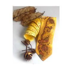 Brown & Yellow Men's Tie  Men's silk tie  silk by InGAartWork