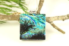 Tree of Life Dichroic Jewelry Glass Pendant by tnglassstains on Etsy