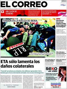 Los Titulares y Portadas de Noticias Destacadas Españolas del 19 de Febrero de 2013 del Diario El Correo ¿Que le parecio esta Portada de este Diario Español?