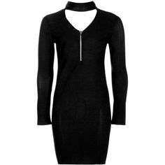 Boohoo Ava Choker PlungeZip Bodycon Rib Dress | Boohoo (150 NOK) ❤ liked on Polyvore featuring dresses, ribbed dress, ribbed bodycon dress, rib dress, body con dress and boohoo dresses