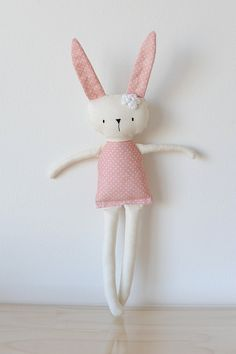 Handmade Rag Doll Bunny pink poke dot fabric Cotton Hand stitched Girl plush doll toy Baby child friendly Stuffed animal Baby shower