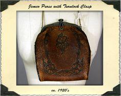 Vintage 1920s Jemco Tooled Leather Purse by NobleSavageVintage