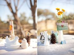 how adorable are these centerpieces with milk glass bud vases, pine cones, aqua mason jars and figurines!