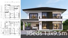House design plan 13x9.5m with 3 bedrooms. Style ModernHouse description:Number of floors 2 storey housebedroom 3 roomstoilet 3 roomsmaid's room