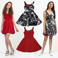 Buy this teen chic red black dress that is reversible and twirly. Classic and timeless style that is ahead of the trend. Little Girl Summer Dresses, Girls Spring Dresses, Dresses For Teens, Red Black Dress, Queen Dress, Business Fashion, Look Cool, Timeless Fashion, Boutique Clothing